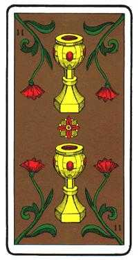 Two of Hearts Tarot Card - Oswald Wirth Tarot Deck