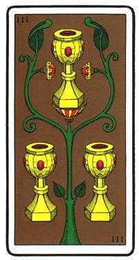 Three of Bowls Tarot Card - Oswald Wirth Tarot Deck