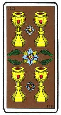 Four of Hearts Tarot Card - Oswald Wirth Tarot Deck