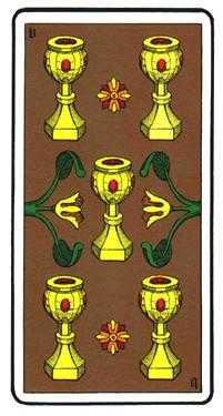Five of Bowls Tarot Card - Oswald Wirth Tarot Deck