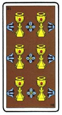 Six of Hearts Tarot Card - Oswald Wirth Tarot Deck