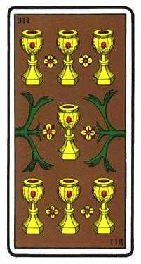 Seven of Hearts Tarot Card - Oswald Wirth Tarot Deck