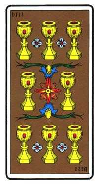 Eight of Cauldrons Tarot Card - Oswald Wirth Tarot Deck