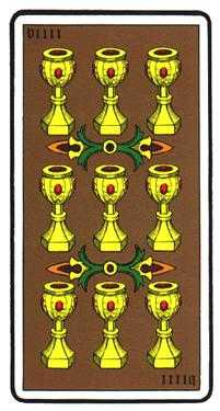 Nine of Cauldrons Tarot Card - Oswald Wirth Tarot Deck