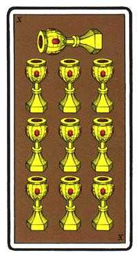Ten of Cauldrons Tarot Card - Oswald Wirth Tarot Deck