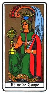 Queen of Hearts Tarot Card - Oswald Wirth Tarot Deck