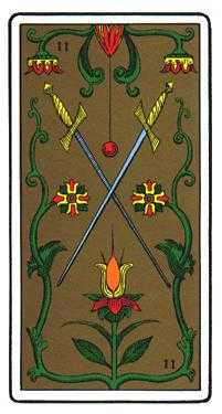 Two of Bats Tarot Card - Oswald Wirth Tarot Deck