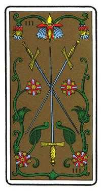 Three of Wind Tarot Card - Oswald Wirth Tarot Deck