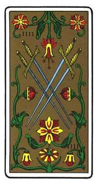 Four of Arrows Tarot Card - Oswald Wirth Tarot Deck