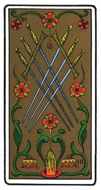 Six of Wind Tarot Card - Oswald Wirth Tarot Deck