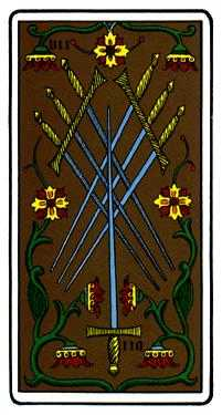 Seven of Swords Tarot Card - Oswald Wirth Tarot Deck