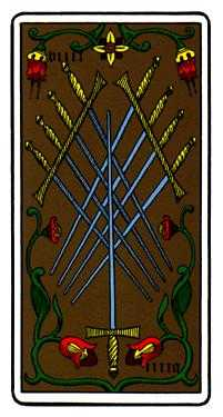 Nine of Swords Tarot Card - Oswald Wirth Tarot Deck