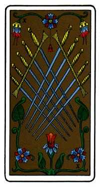 Ten of Arrows Tarot Card - Oswald Wirth Tarot Deck