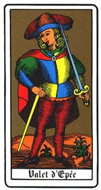 Valet of Swords Tarot Card - Oswald Wirth Tarot Deck
