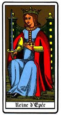 Mistress of Swords Tarot Card - Oswald Wirth Tarot Deck