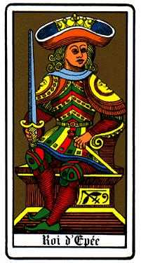 Roi of Swords Tarot Card - Oswald Wirth Tarot Deck