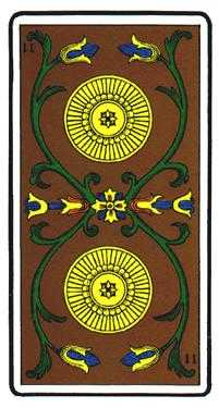 Two of Diamonds Tarot Card - Oswald Wirth Tarot Deck