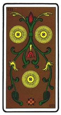 Three of Coins Tarot Card - Oswald Wirth Tarot Deck
