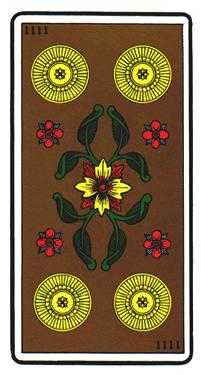 Four of Diamonds Tarot Card - Oswald Wirth Tarot Deck