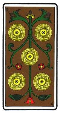 Five of Coins Tarot Card - Oswald Wirth Tarot Deck