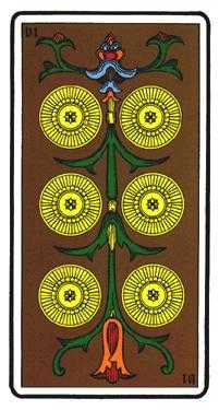 Six of Coins Tarot Card - Oswald Wirth Tarot Deck