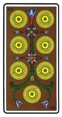 Seven of Discs Tarot Card - Oswald Wirth Tarot Deck