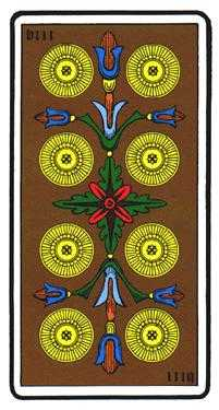 Eight of Coins Tarot Card - Oswald Wirth Tarot Deck