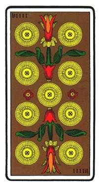 Nine of Coins Tarot Card - Oswald Wirth Tarot Deck