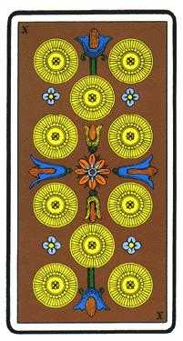 Ten of Stones Tarot Card - Oswald Wirth Tarot Deck