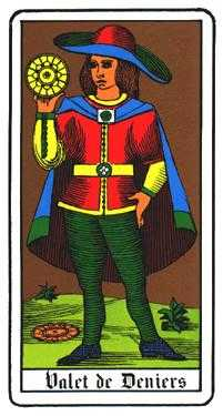 Valet of Coins Tarot Card - Oswald Wirth Tarot Deck