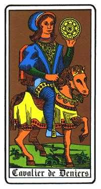 Knight of Coins Tarot Card - Oswald Wirth Tarot Deck