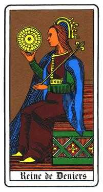 Queen of Pentacles Tarot Card - Oswald Wirth Tarot Deck