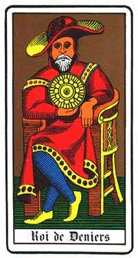 Roi of Coins Tarot Card - Oswald Wirth Tarot Deck
