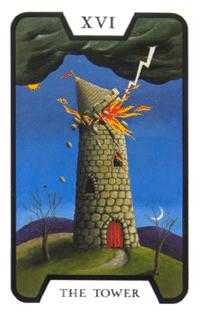 The Falling Tower Tarot Card - Tarot of the Witches Tarot Deck