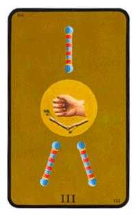 Three of Batons Tarot Card - Tarot of the Witches Tarot Deck