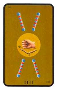 Four of Batons Tarot Card - Tarot of the Witches Tarot Deck