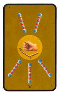Five of Wands Tarot Card - Tarot of the Witches Tarot Deck