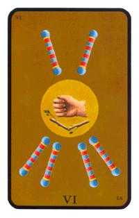 Six of Pipes Tarot Card - Tarot of the Witches Tarot Deck