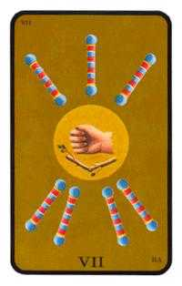 Seven of Batons Tarot Card - Tarot of the Witches Tarot Deck