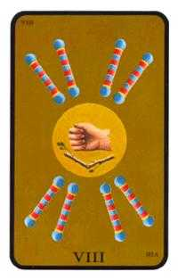 Eight of Batons Tarot Card - Tarot of the Witches Tarot Deck