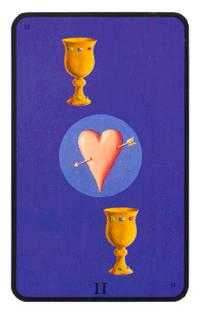 Two of Hearts Tarot Card - Tarot of the Witches Tarot Deck