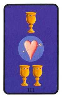 Three of Hearts Tarot Card - Tarot of the Witches Tarot Deck
