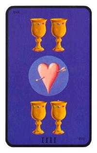 Four of Hearts Tarot Card - Tarot of the Witches Tarot Deck