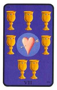 Seven of Hearts Tarot Card - Tarot of the Witches Tarot Deck