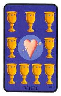 Nine of Hearts Tarot Card - Tarot of the Witches Tarot Deck