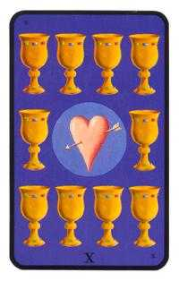 Ten of Hearts Tarot Card - Tarot of the Witches Tarot Deck