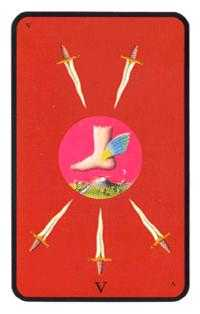 Five of Rainbows Tarot Card - Tarot of the Witches Tarot Deck