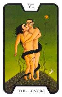 The Lovers Tarot Card - Tarot of the Witches Tarot Deck