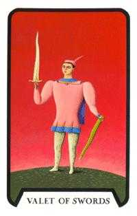 Knave of Swords Tarot Card - Tarot of the Witches Tarot Deck