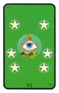Six of Diamonds Tarot Card - Tarot of the Witches Tarot Deck